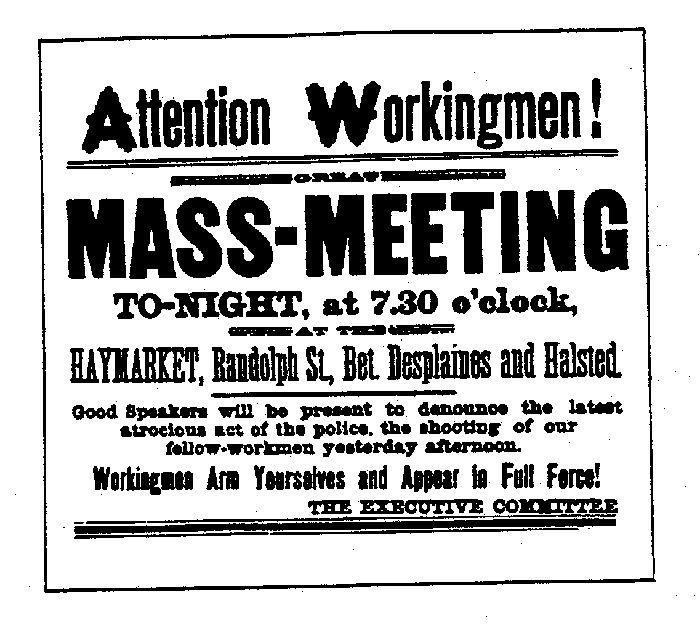 1886 மே 4 : ஹே மார்க்கெட் கூட்டத்திற்கான சுவரொட்டி
