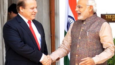 NEW DELHI, INDIA - MAY 27: Indian Prime Minister Narendra Modi (L) shakes hand with his Pakistani counterpart Nawaz Sharif before the start of their bilateral meeting at Hyderabad House on May 27, 2014 in New Delhi, India. New Indian Prime Minister Narendra Modi met with the leaders of rival Pakistan and other neighboring nations a day after being sworn in. (Photo by Ajay Aggarwal/Hindustan Times via Getty Images)