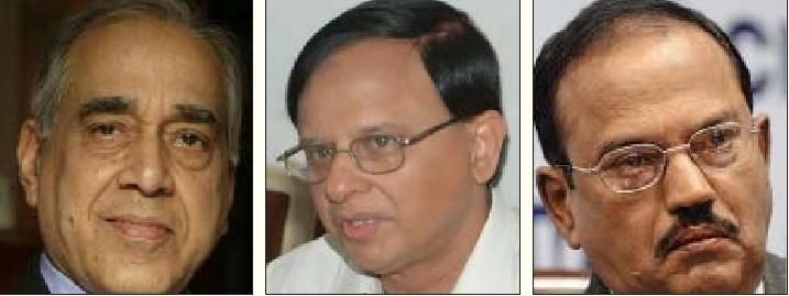 நிருபேந்திர மிஸ்ரா, பிரமோத் குமார் மிஷ்ரா, அஜித் குமார் தோவல்.
