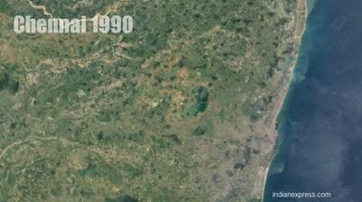 1990-ம் ஆண்டில் ஒப்பீட்டளவில் பசுமையுடன் காணப்படும் சென்னை