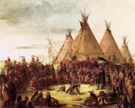 1830 ல் செவ்விந்தியர்களின் வாழ்க்கை முறையை கேட்லின் என்பவரால் தீட்டப்பட்ட ஓவியம்