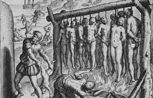 தூக்கு மேடையைப் பார்த்திராத அமெரிக்கத் தீவுகளில் 340 துக்கு மேடைகளை நிறுவினான் கொலம்பஸ். இஸ்பானோலாவில் மட்டும் 50,000 பழங்குடிகளைப் படுகொலை செய்தான்.