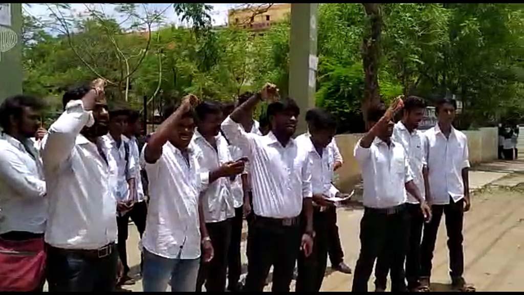 ambedkar statue vandalised Students protest